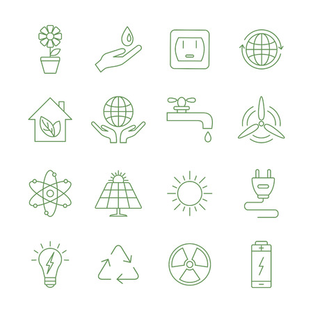 fire plug: Ecology and energy line icons. Vector illustrations.
