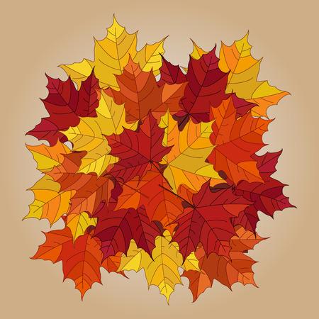 Vector autumn fallen leaves.  Leafs element floral color garden art. Pile of leaves. Maple autumn  leaves