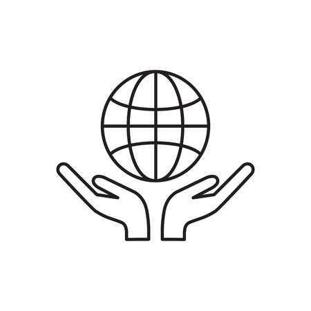 hands holding globe: Two hands holding globe line icon for web, mobile and infographics. Vector dark grey icon isolated on white background. Save world Icon Illustration