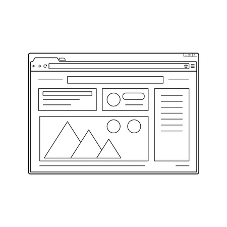Simple web browser window. Internet window with website page template. Line design.  イラスト・ベクター素材