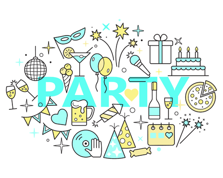 Event and Celebration Outline Icons. Party time concept illustration, thin line flat design.