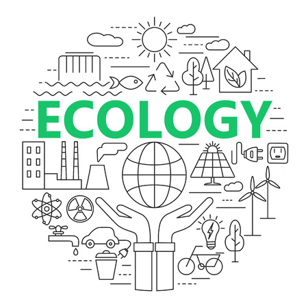flora fauna: Ecology and environment concept illustration, thin line flat design. Modern thin line icons set of ecology, sustainable technology, renewable energy, recycling, nature, protection of flora and fauna.