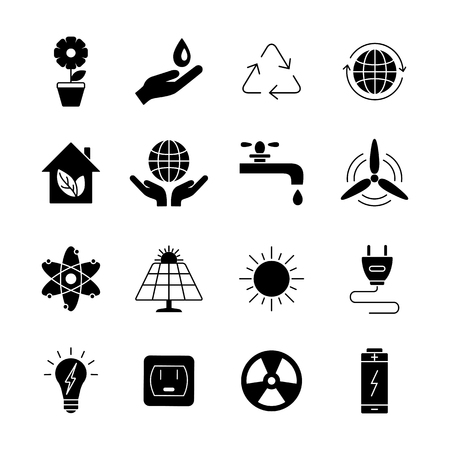 energy use: Ecology and energy  icons.  Universal ecology  Icon to use in web and mobile UI.