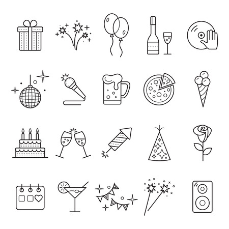 Outline web icon set - Party, Birthday, Holidays.  Event and Celebration Outline Icons. Standard-Bild