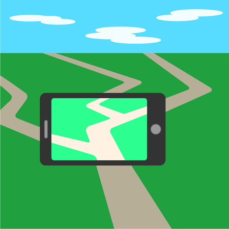 mobile application: Mobile phone, game screen application. Flat mobile phone illustration.