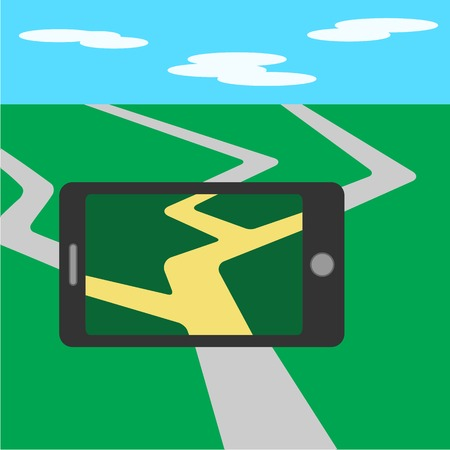mobile application: Mobile phone, game screen application. Flat mobile phone  illustration. Illustration