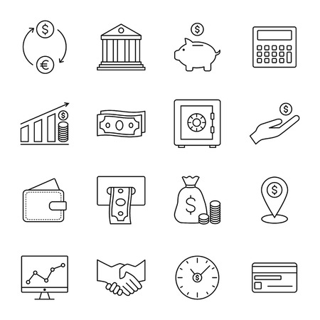 bagful: Finance and banking line icons. Vector illustration.