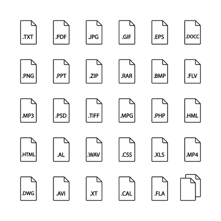 file types: File format  line icons. Audio, video, image, system, archive, code and document file types