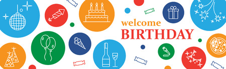 welcoming party: Happy Birthday Card. Confetti, cute fonts, masks. Kids birthday party . Poster to birthday celebration. Party . Party celebration  or Template design for Musical Party celebration.