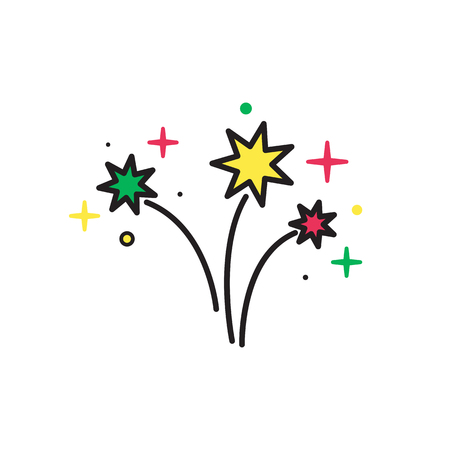 fire crackers: Colorful Bright Firework Isolated on White Background. Firework silhouette icon. Firework icon.