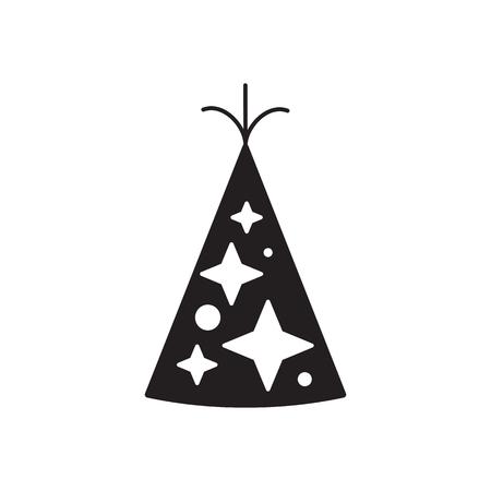 Celebration happy birthday party symbols carnival festive set.Birthday hat with stars isolated illustration. Illustration