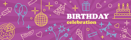 birthday party kids: Happy Birthday Card. Confetti, cute fonts, masks. Kids birthday party . Poster to birthday celebration. Party . Party celebration or Template design for Musical Party celebration.