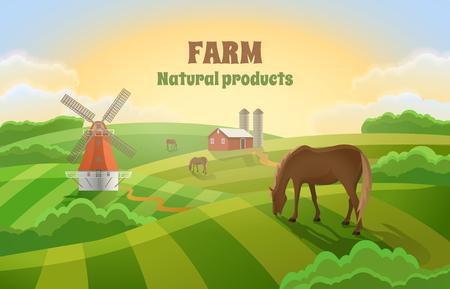 Paysage rural avec un moulin, un hangar et des chevaux de pâturage. Ferme aux champs verts.