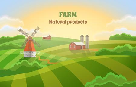 Paysage rural avec un moulin et un hangar. Ferme avec des champs verts.
