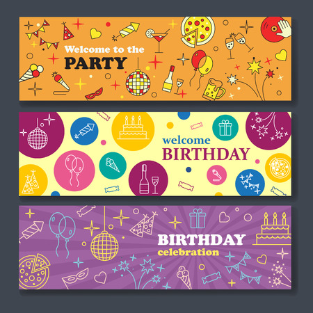 welcoming party: Happy Birthday Card. Confetti, cute fonts, masks. Kids birthday party banner. Poster to birthday celebration. Party celebration banner Banner or Template design for Musical Party celebration.
