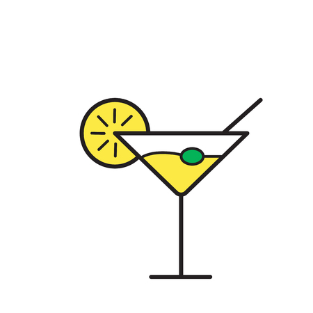 cocktail drink illustration. cocktail Flat Simple Icon with isolated on white background. Stock Photo