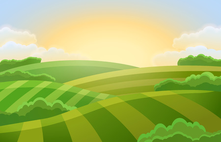 Sunny rural landscape with hills and fields. Vector illustration of beautiful summer landscape.