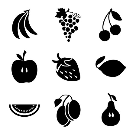 wite: Various fruits on a wite background. Fruits Black Icons. Different fruits silhouette icons o Vector illustration