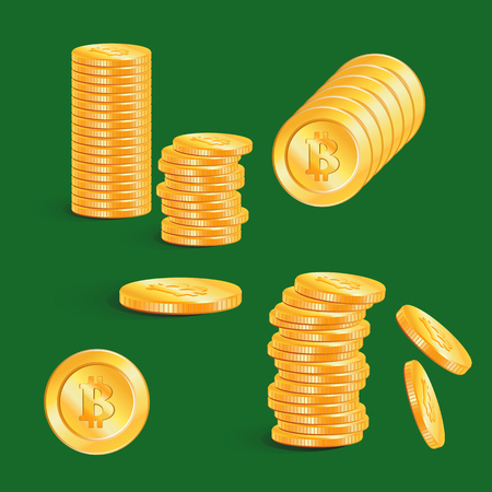 Bitcoin icon isolated on a green background. Simple symbol cryptocurrency. Bitcoin - virtual currency. Stacks of gold coins. Illustration
