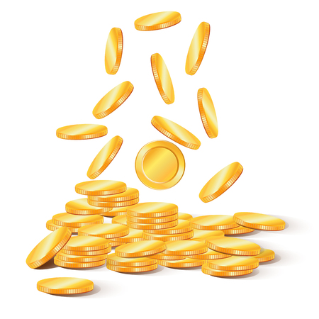 Stacks of gold coins. Collection of illustrations, icons of gold coins.. Business and banking objects. Background with falling golden coins. Illustration