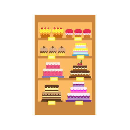 bakery store: Bakery shop stand with sweet desserts. A vector illustration of cakes store display