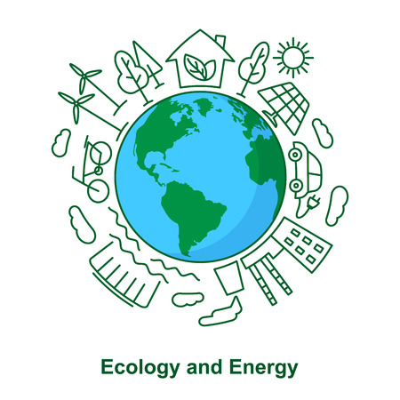 Earth and energy sources. Alternative energy sources against the traditional. Ecological concept development Electric power sources. Linear and flat style. Save the planet vector illustration. Illustration