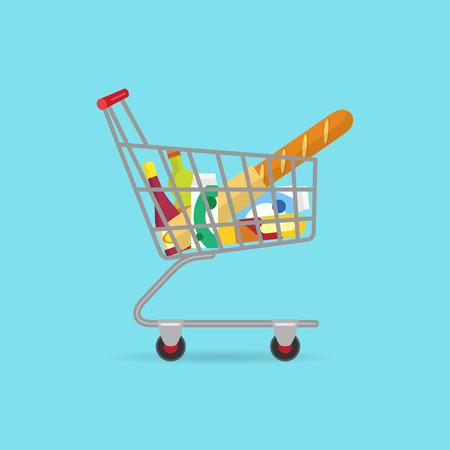 Food basket on wheels filled with different products. Flat illustration of the buying process.