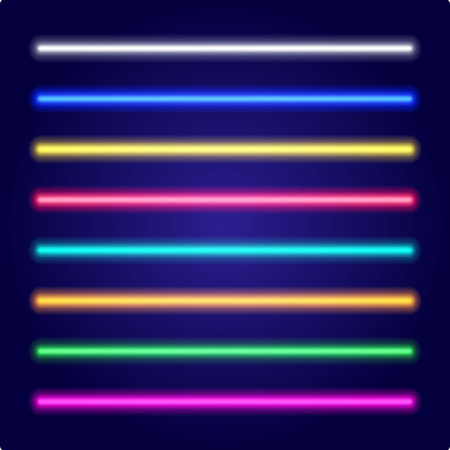 Neon tube light. Vectorillustration. Set of color laser beams. Illustration