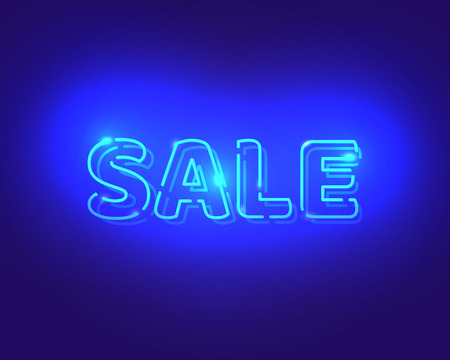 vibrance: Sale white neon electric letters. Vector Advertising design. Illustration