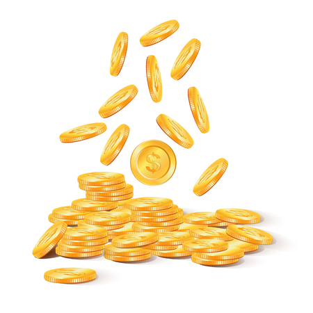 Coins stack vector illustration, coins icon flat style. Money. Dollar. Gold. Vector Illustration of golden coins. Isolated on white. Gold coins or money.