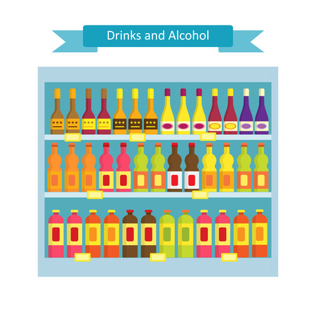gamme de produit: Supermarket shelves with groceries.Vector illustration in flat style of supermarket shelves with drink and alcohol products. Illustration