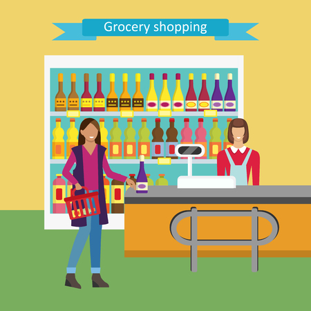 cash box: Concept illustration for shop.  Woman pays for purchases at the checkout. Banner design with shop interior: cashier, cash box,  shelves, consumer. Vector character woman cashier in supermarket.