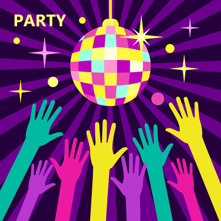 nightclub crowd: A crowd of people dancing in a nightclub or disco, arms raised up to the sparkling disco ball. Concept for parties and music festivals. Shining disco ball, illustration in a flat style. Party Vector.