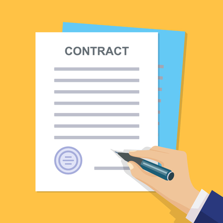 signing document: Contract signing. Man signs document stamped handle puts his signature. Contract with Stamp and Signature. Modern concept for web banners, web sites, infographics. Flat style. Vector.