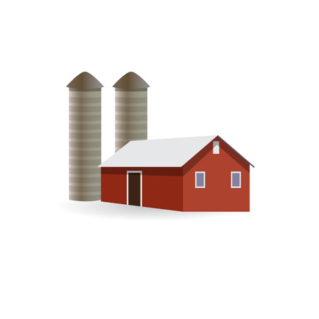Farm building. Hangar with an elevator on the farm. Vector illustration isolated on a wite background. Illustration