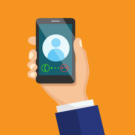 holding smart phone: Receiving phone call concept. Dialling, calling on the mobile phone. Hand holding smart phone in modern flat style design. Illustration