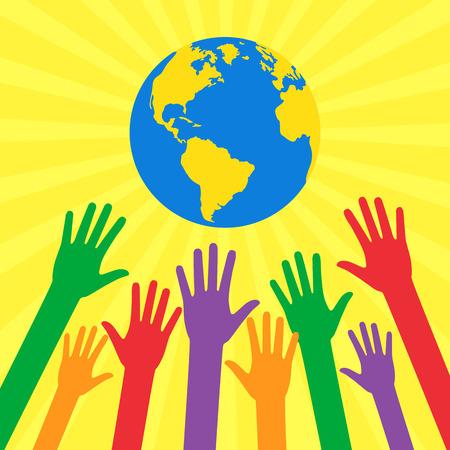 Hände von Menschen zu verschiedenen Farben Globus gezogen. Ökologische und humanitäre Konzepte in flachen Stil. Vektor-Illustration zum Thema: Außer unserem Planeten.