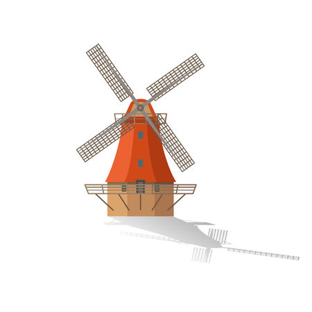 farmstead: Flat illustration of mill vector icon for web design. Windmill isolated icon. Illustration