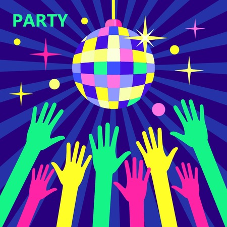 nightclub crowd: A crowd of people dancing in a nightclub or disco, arms raised up to the sparkling disco ball. Concept for parties and music festivals. Shining disco ball, illustration in a flat style. Bright party. Illustration