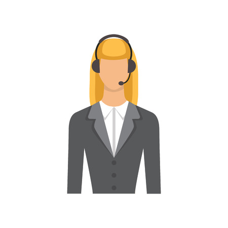 customer service phone: Service businesswoman. Female customer support phone operator in headset - Vector flat icon isolated. Illustration