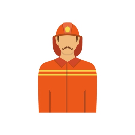 fire brigade: Illustration of fireman isolated on white background in flat style. Man from fire brigade in form of fireman.Profession vector avatar icon.