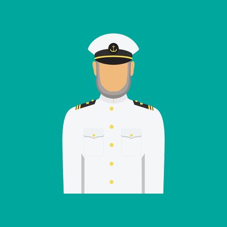 Ship captain in uniform  in flat style. Vector  illustration of seaman. Illustration