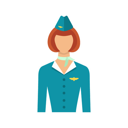 Stewardess isolated on white  background. Vector illustration of  stewardess in blue uniform, flat icon.