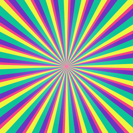 Colorful multicolored burst background. Rays background in retro style.  Vector illustration.