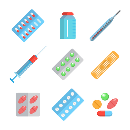 blisters: Icons of medicament. Tablets in blisters: painkillers, vitamins, antibiotics and aspirin. Collection of medical icons. Vector medical illustration on white background.