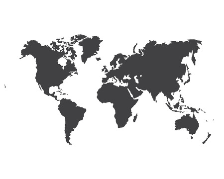 Monochrome Worldmap Vector template for website, design, cover, annual reports, infographics. World map for infographic. Silhouette world map.