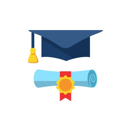 Símbolo colorido de la educación del final. El casquillo y el diploma de la graduación rodaron el pergamino. Ilustración vectorial plana.