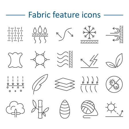 Fabric feature line icons. Pictograms with editable stroke for g Vector Illustration