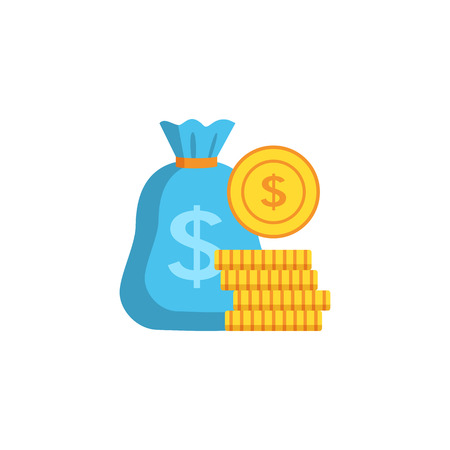 Money bag and a stack of coins in a flat style. Bank concept isolated on white background. Vector illustration.