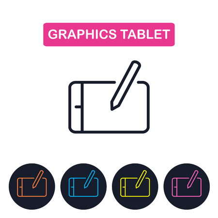 wacom: Vector graphics tablet  icon. Simple thin line icon for web desi
